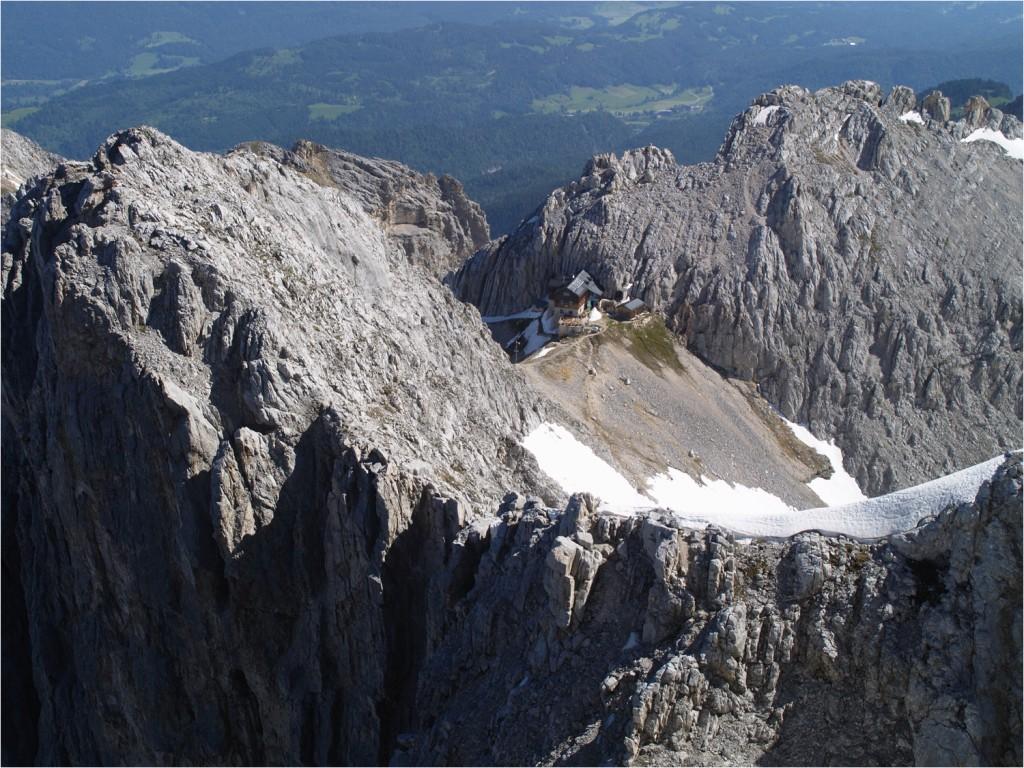Blick zur Meilerhütte von der Part. Dreitorspitze