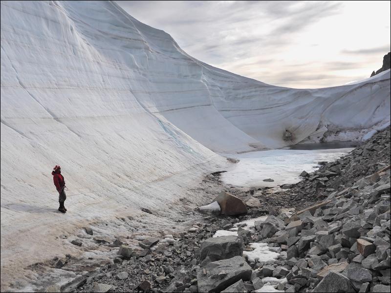 """Für Ralf Ganzhorn (Rother Wanderführer für Patagonien) ist die Randklüft """"u.U. unangenehm"""""""